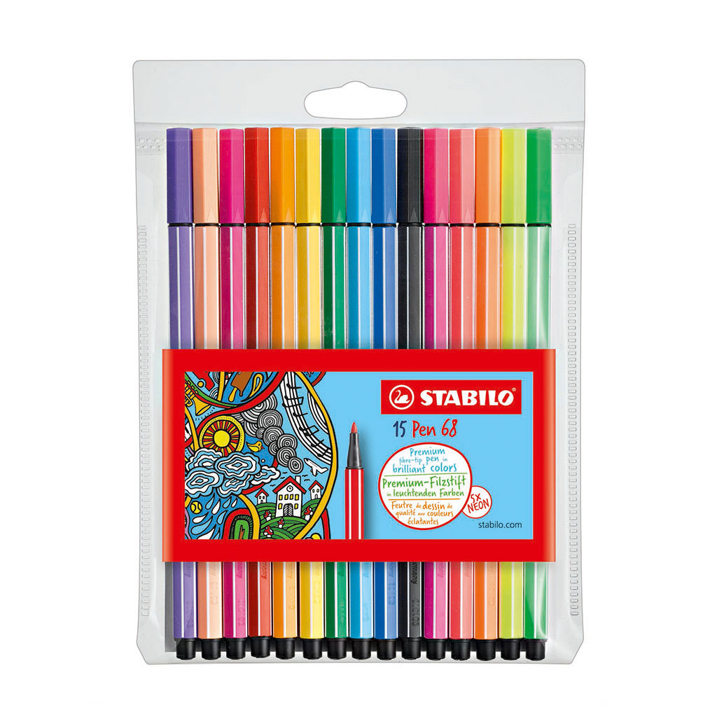 Stabilo Pen 68 fixka Single Pack /15 ks, 10+5 neon. farieb