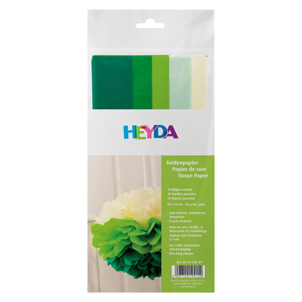 Papier hodvábny, 50x70 cm, 10 ks - zelený mix