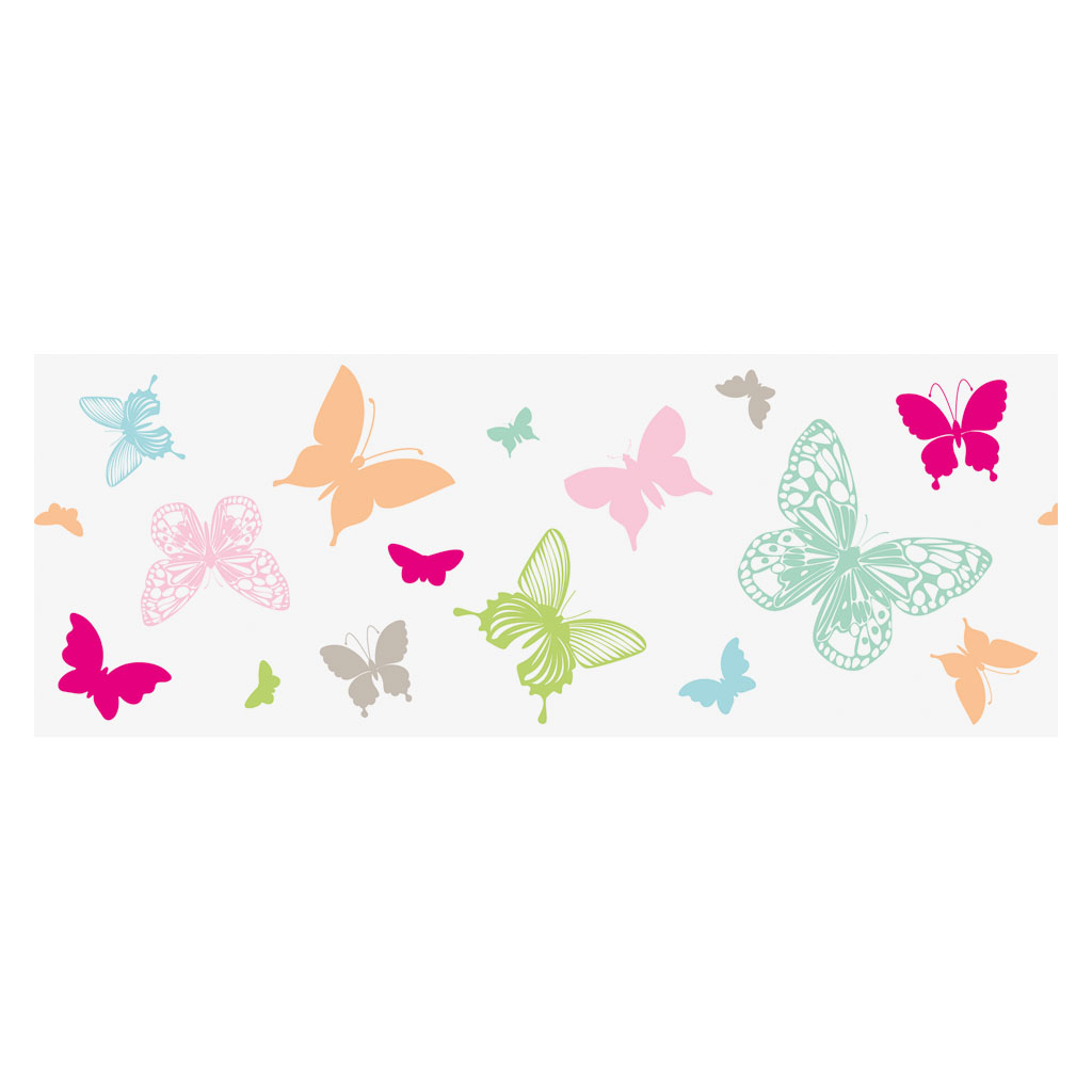 Dekoračná adhezívna páska, 76 mm x 2 m - motýle