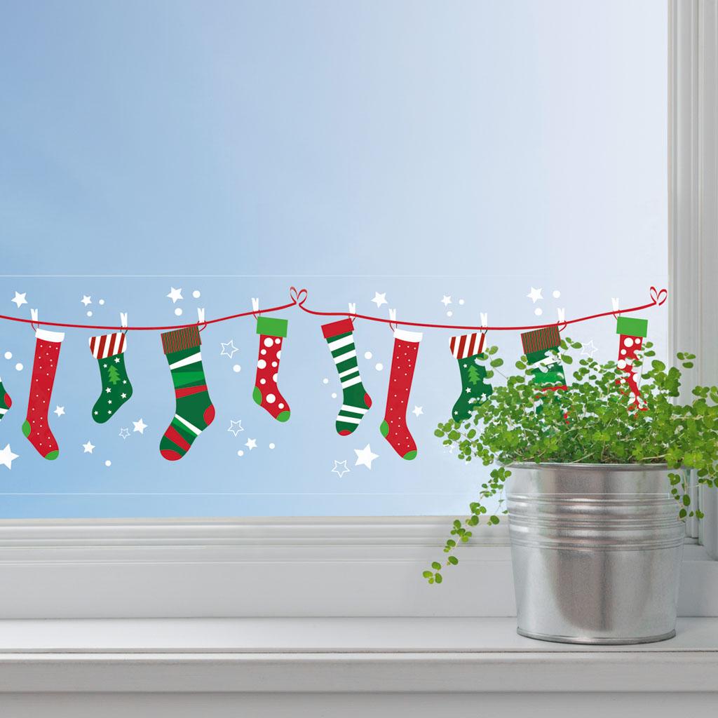 Dekoračná adhezívna páska, 76 mm x 2 m - vianočné ponožky