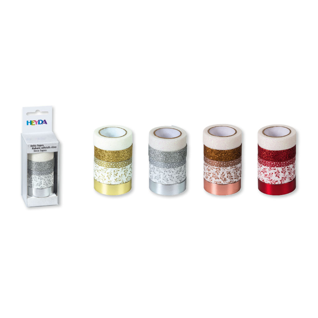 Dekoračná papierová páska, 5ks, mix veľkostí - mix farieb