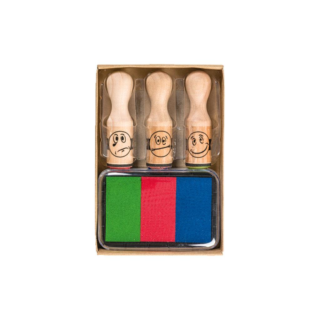 Motivačné drevené pečiatky s farebnými poduškami, 3 ks