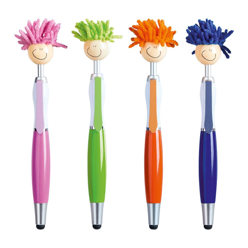 Guľôčkové pero Strapáč, modrá náplň - mix farieb