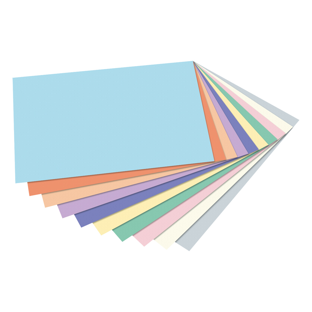 Blok pastel. farebných papierov A4, 10 list. 130 gr. + 10 list. 300 gr.