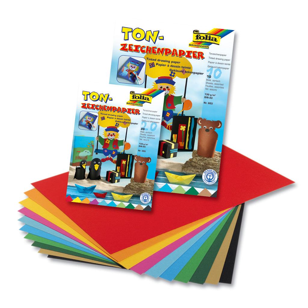 Blok farebných papierov A4, 20 list., 130 gr.