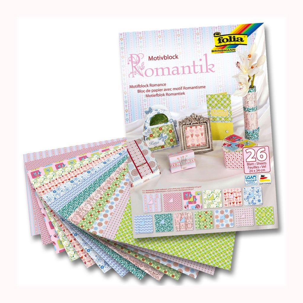 Blok Romantik, motívové papiere 24x34 cm, 26 list.