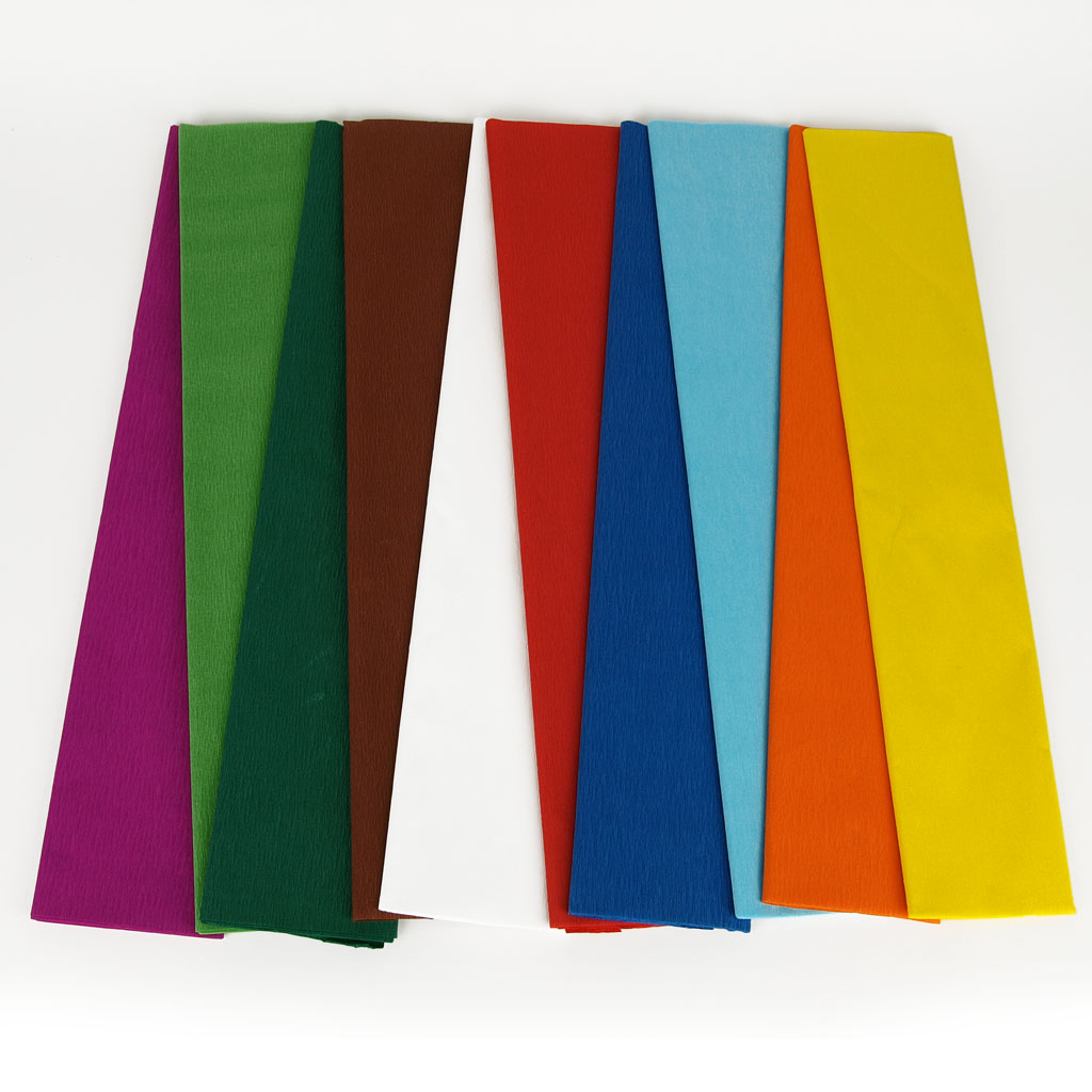 Krepový papier 50 cm x 2,5 m - 10 farieb
