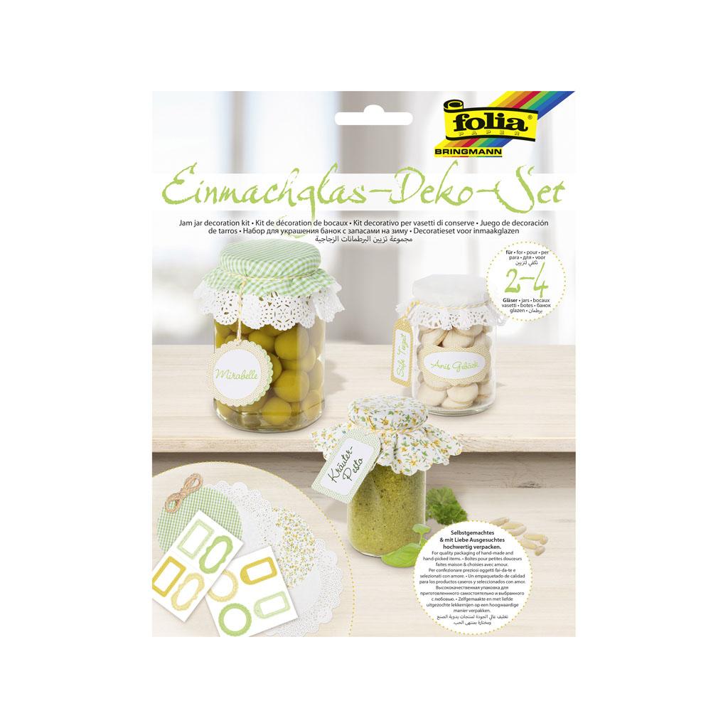 Dekoračný set na zaváraniny - zelený, žltý