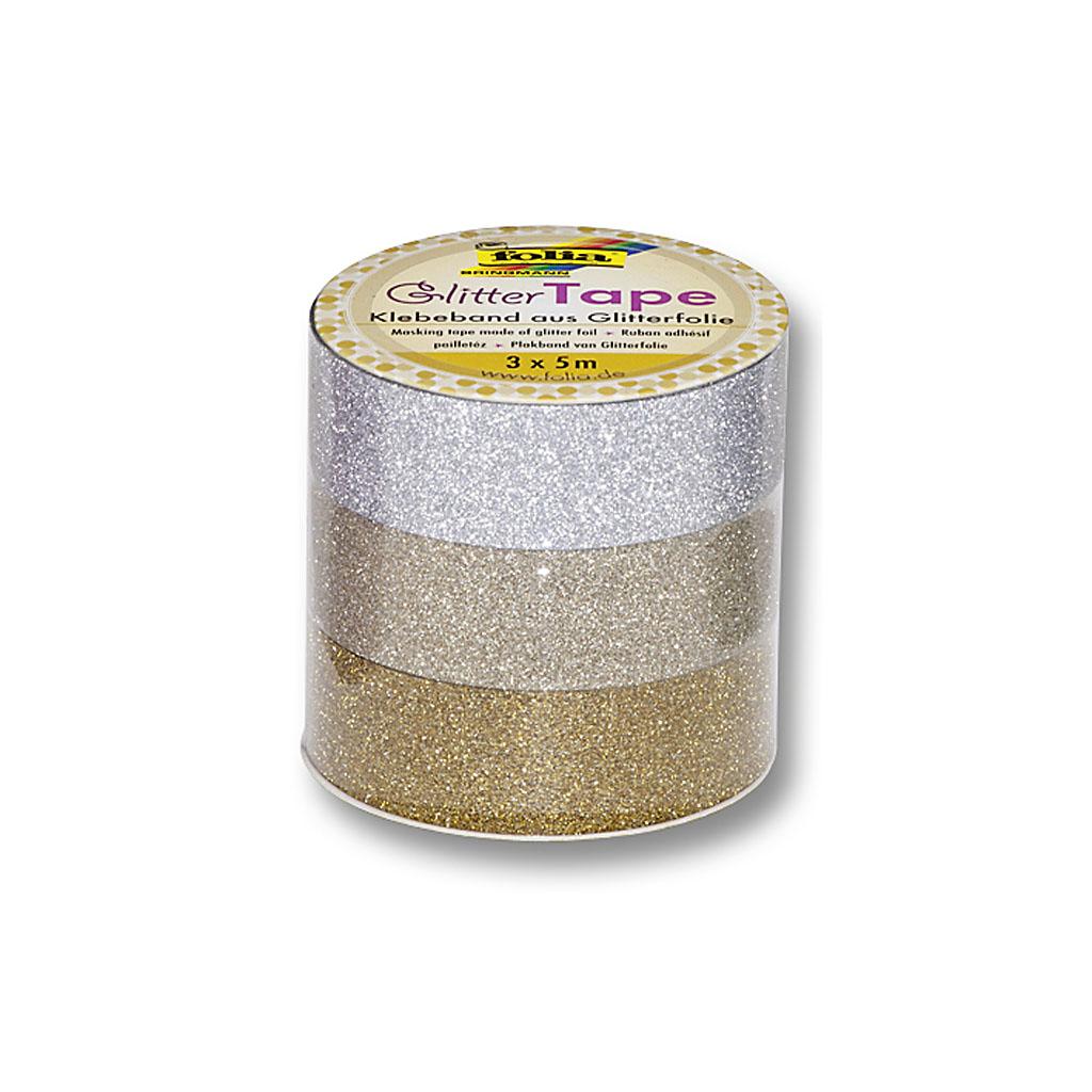 Glitrová lepiaca páska 15 mm x 5 m - strieborná, zlatá / 3ks