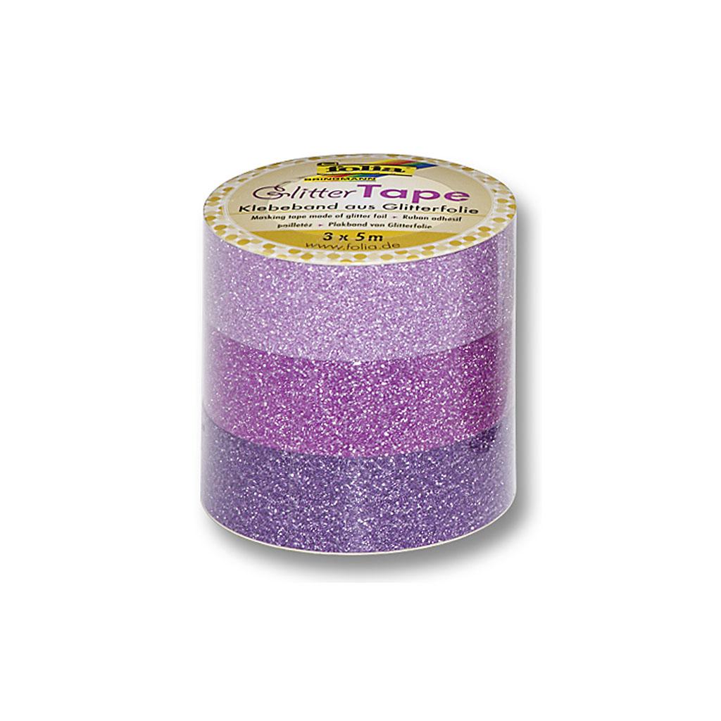 Glitrová lepiaca páska 15 mm x 5 m - ružová, fialová / 3ks