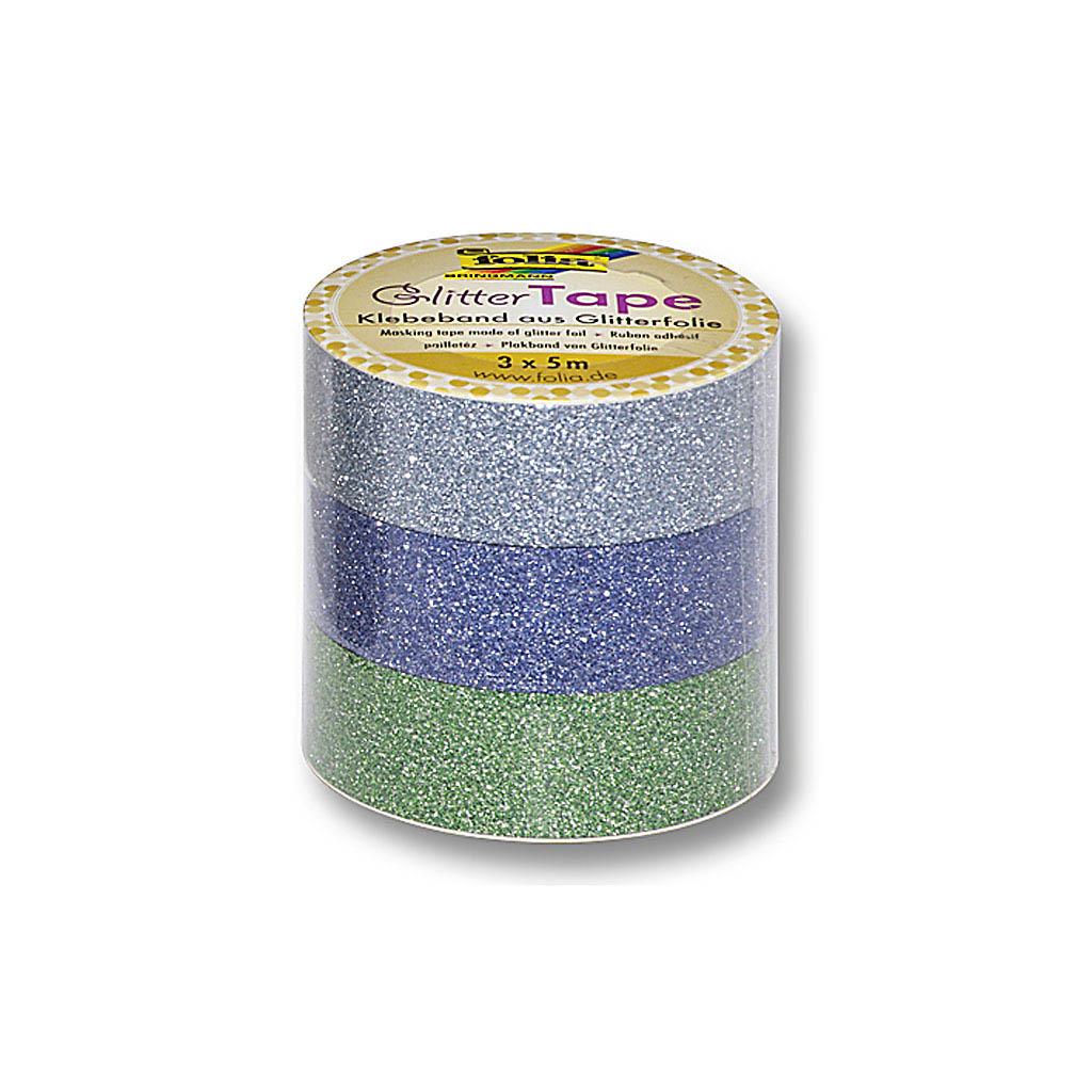 Glitrová lepiaca páska 15 mm x 5 m - modrá, zelená / 3ks