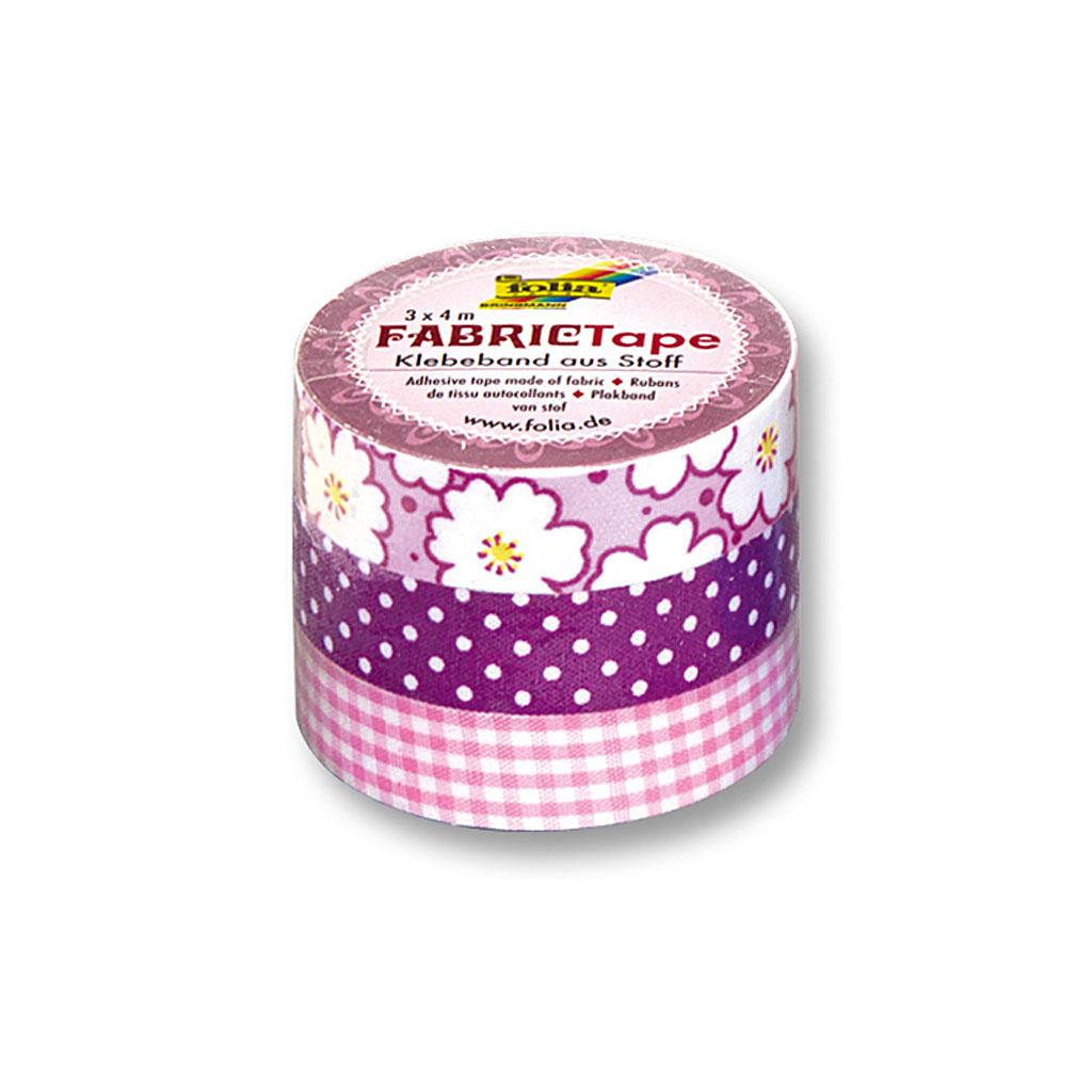 Textilná lepiaca páska 15 mm x 4 m - ružový motív / 3 ks