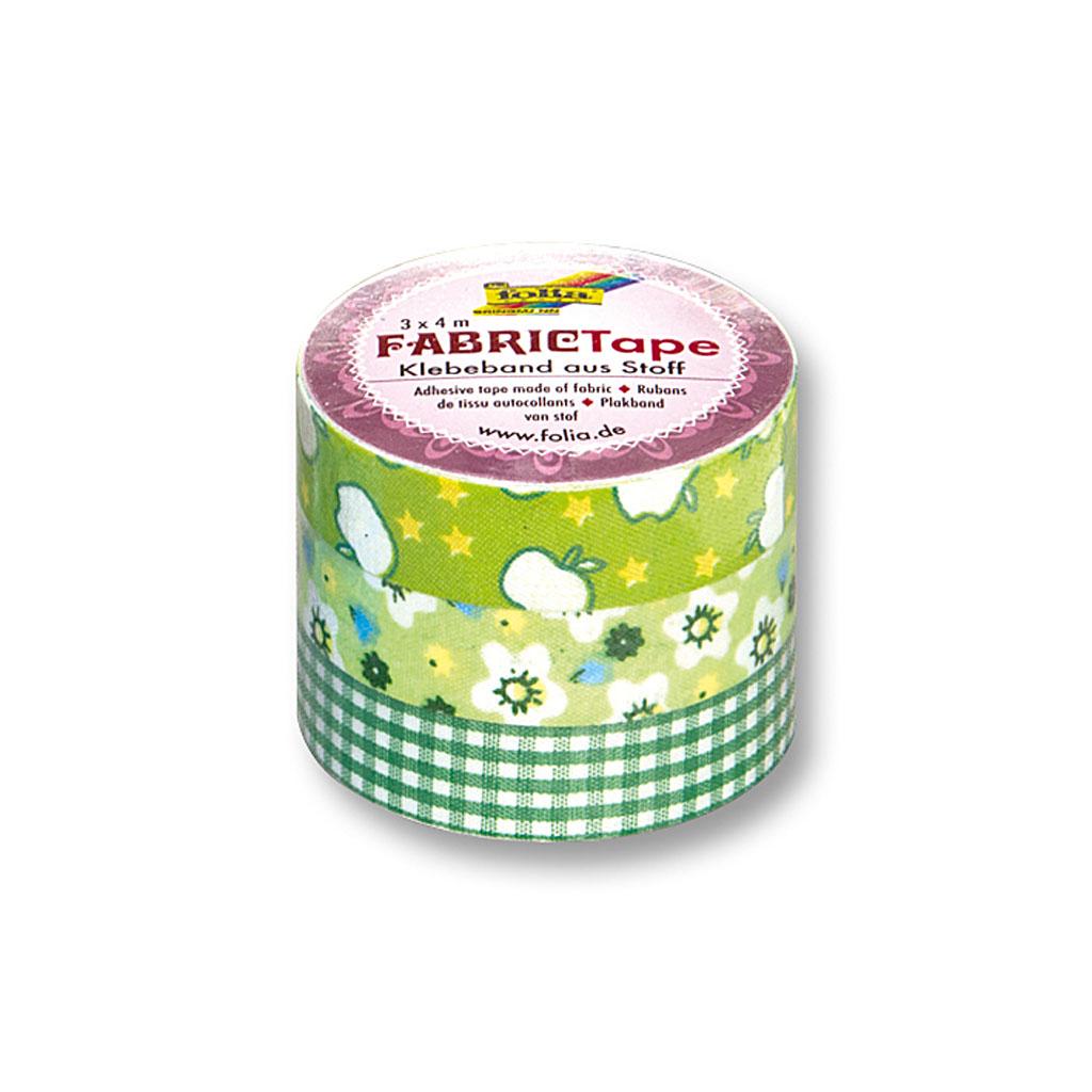 Textilná lepiaca páska 15 mm x 4 m - zelený motív / 3ks