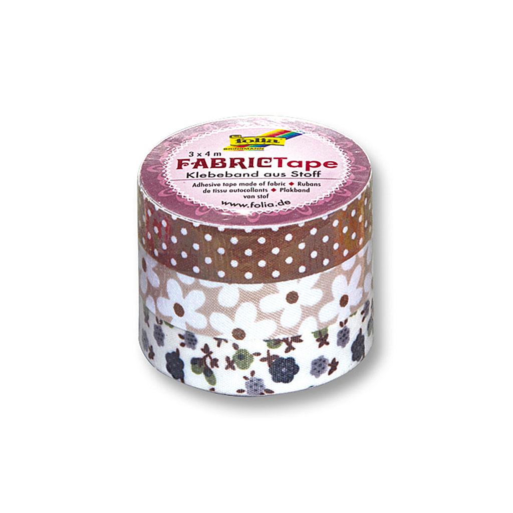 Textilná lepiaca páska 15 mm x 4 m - hnedý motív / 3 ks