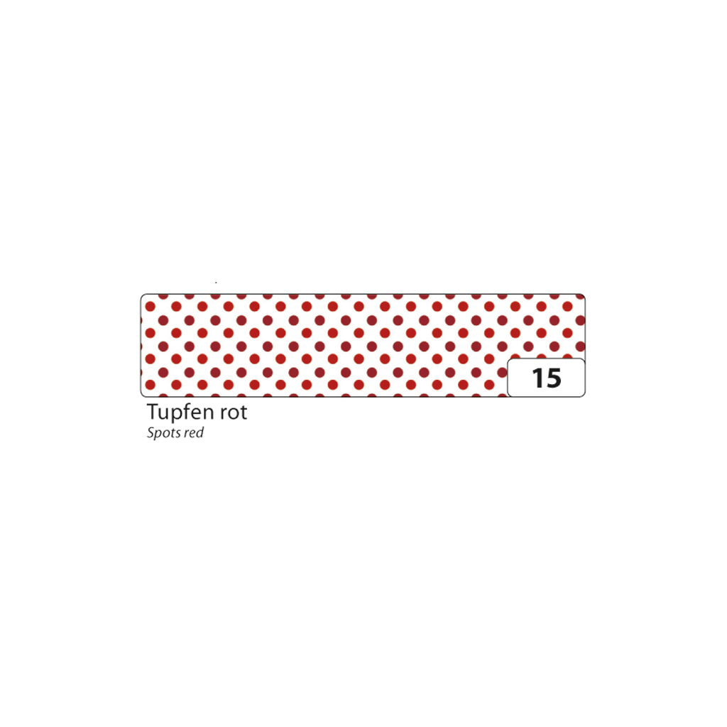 Washi - dekor. páska 15 mm x 10 m - červené bodky