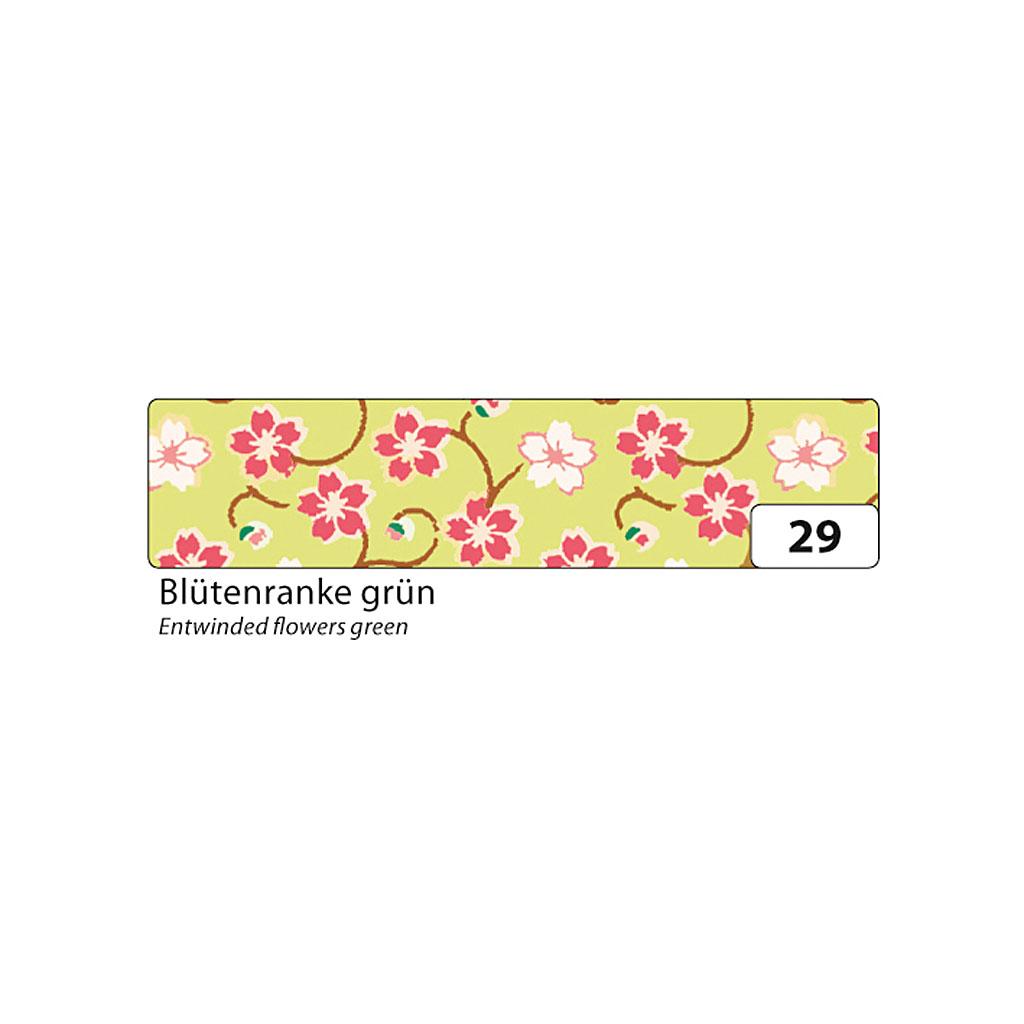 Washi - dekor. páska 15 mm x 10 m - kvety, zelený podklad