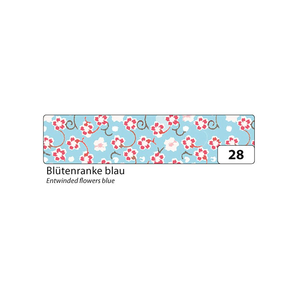 Washi - dekor. páska 15 mm x 10 m - kvety, modrý podklad