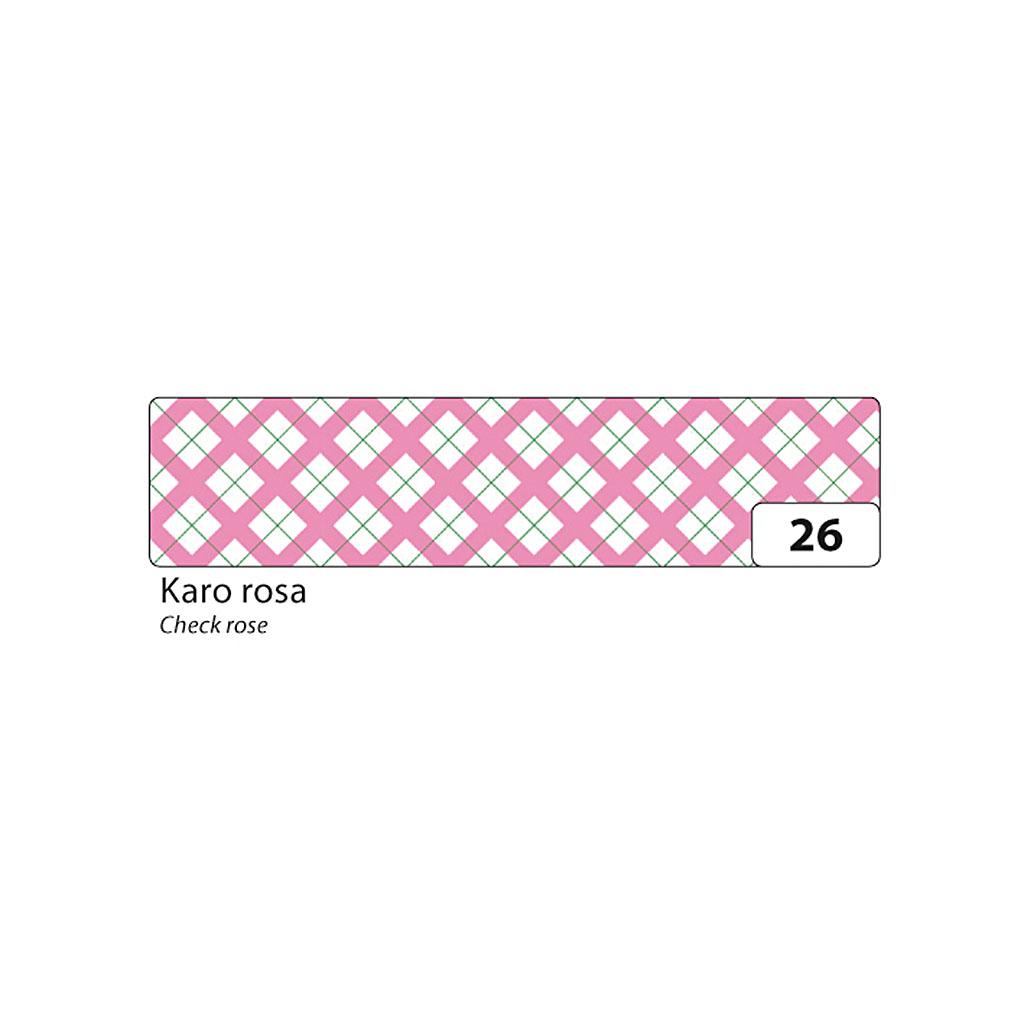 Washi - dekor. páska 15 mm x 10 m - ružové káro