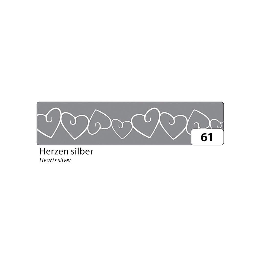 Washi - dekor. páska 15 mm x 10 m - strieborné srdiečka