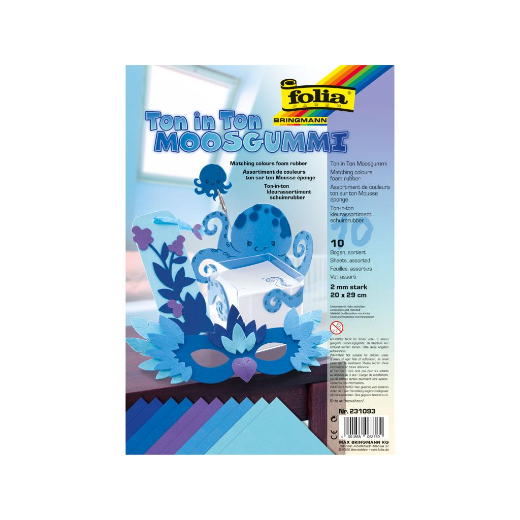 Dekoračná gumená pena, 20 x 29 cm - modrá / 10 ks