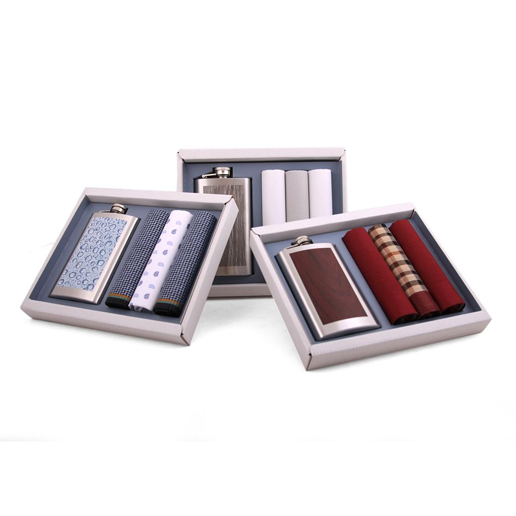Luxusné pánske vreckovky s ploskačkou M26, 3 ks, mix motívov