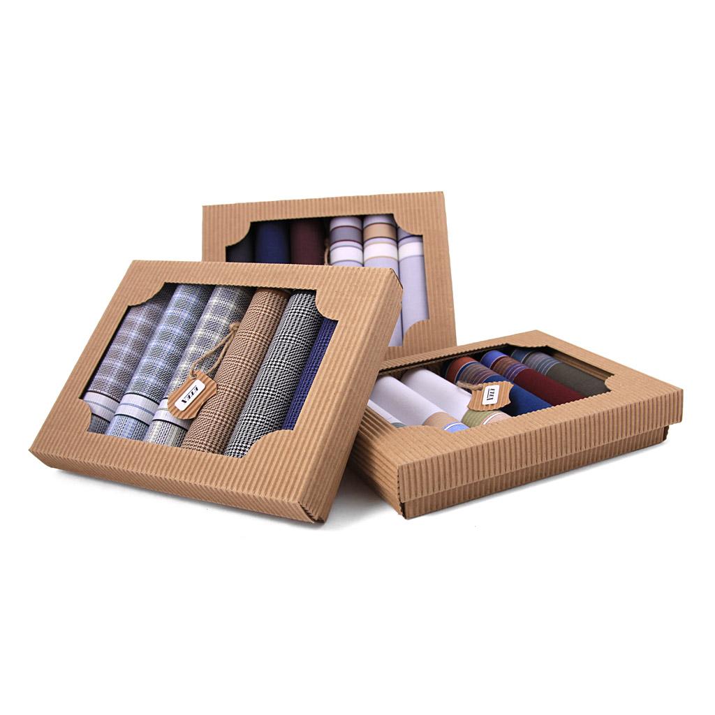 Elegantné pánske vreckovky M50, v eko krabičke, 6 ks, mix motívov