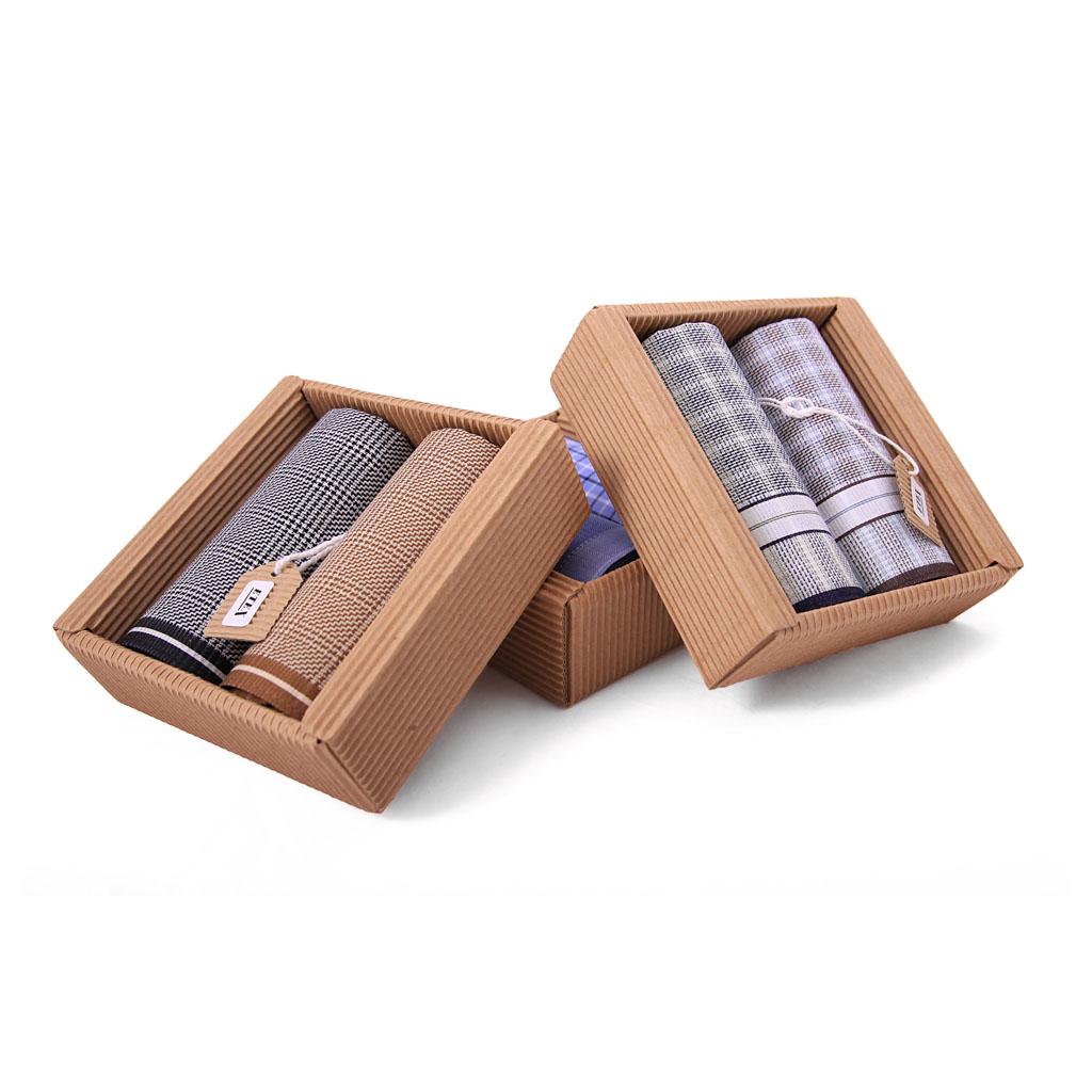 Elegantné pánske vreckovky M51, v eko krabičke, 2 ks, mix motívov