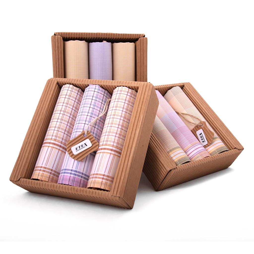 Elegantné dámske vreckovky L47, v eko krabičke, 3 ks, mix motívov