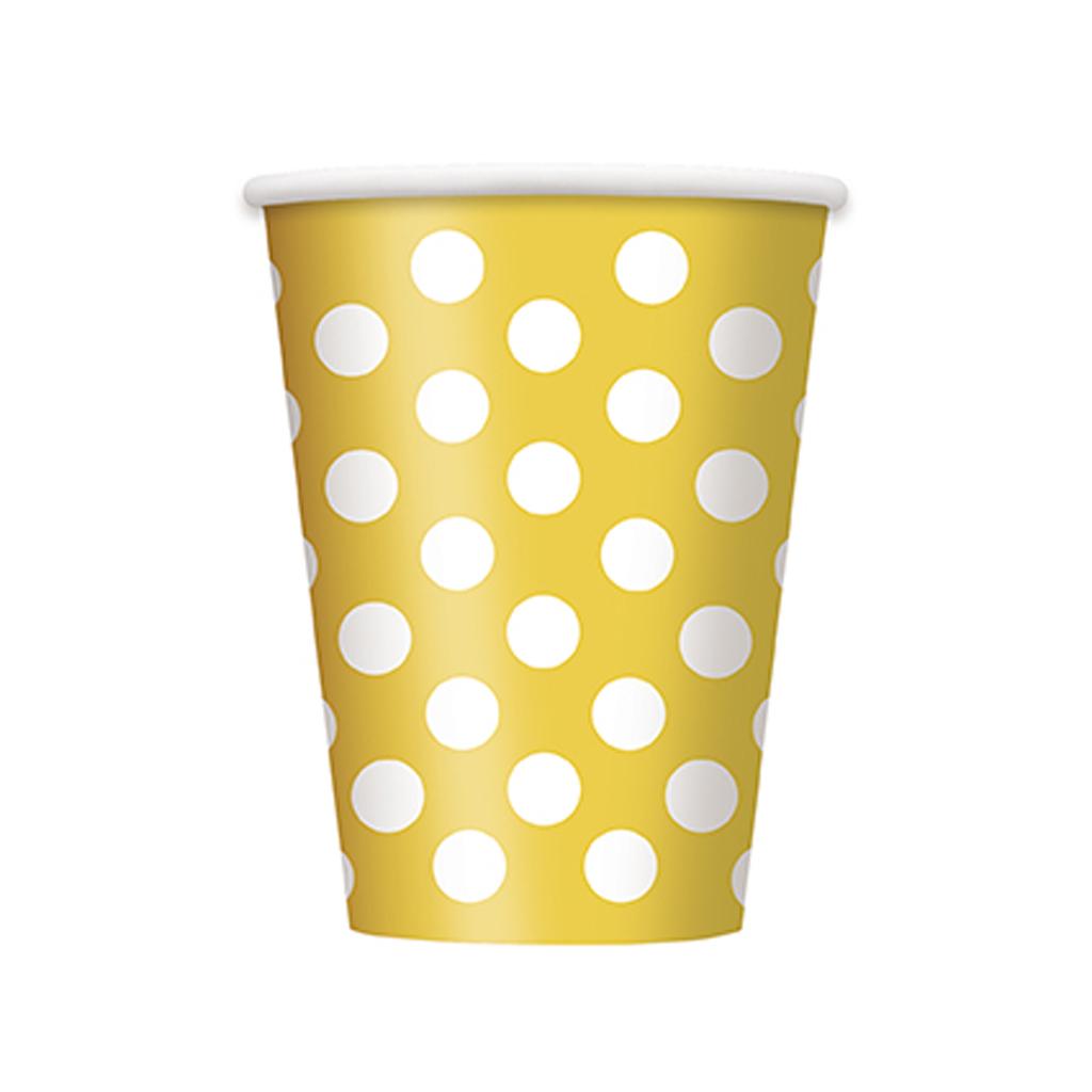 """Pohárik """"žlté bodky"""", 6 ks"""