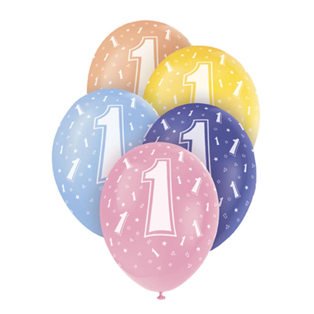 Balóny latexové č.1, mix farieb, 5 ks