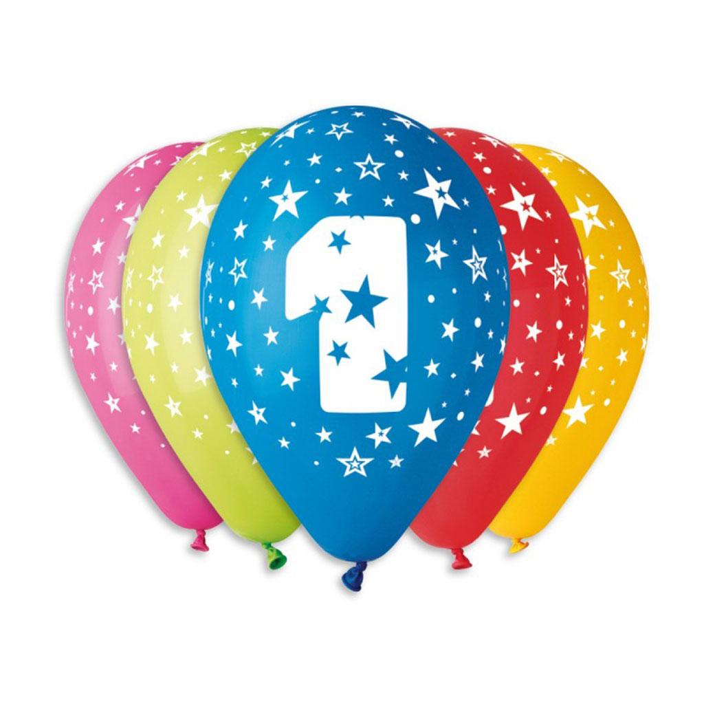 Balóny latexové č.1 s hviezdami, mix farieb, 5 ks