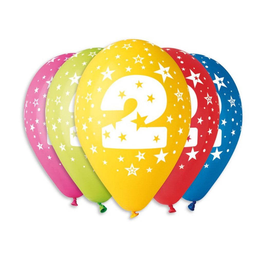 Balóny latexové č.2 s hviezdami, mix farieb, 5 ks