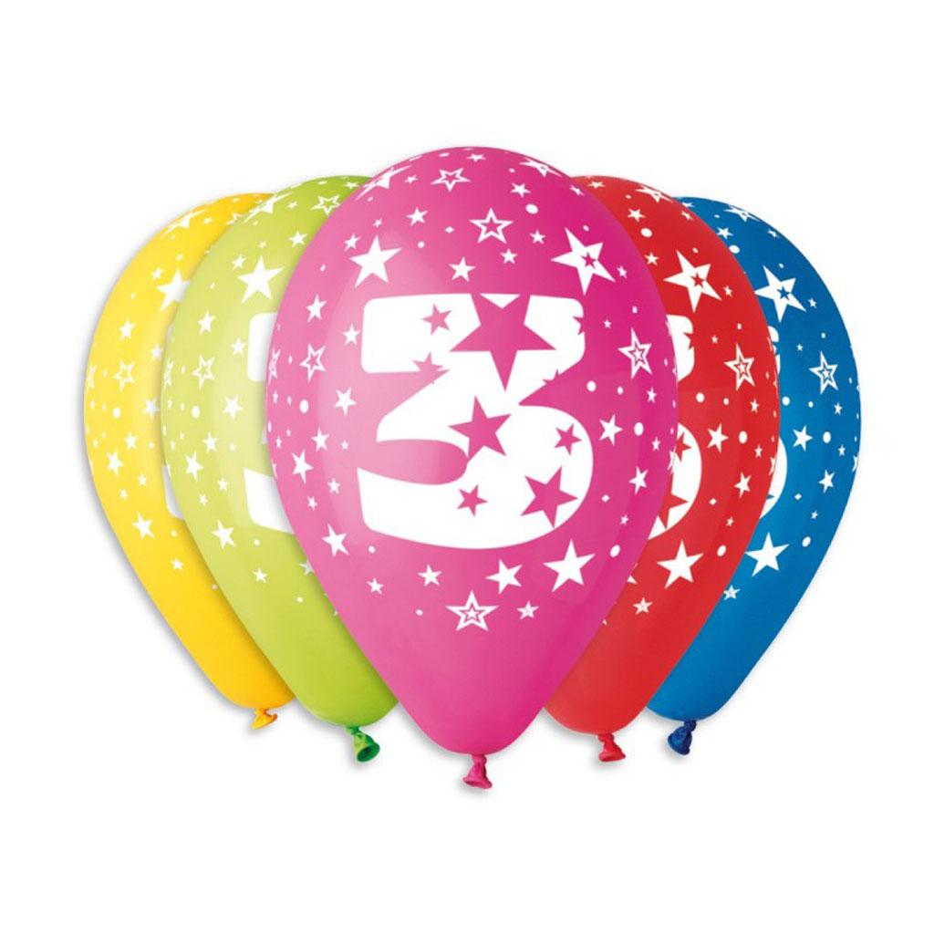 Balóny latexové č.3 s hviezdami, mix farieb, 5 ks
