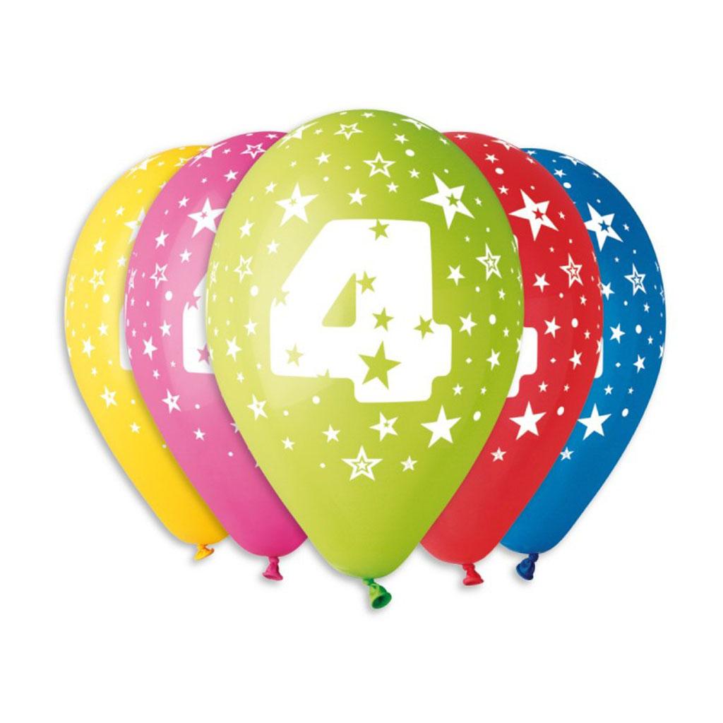 Balóny latexové č.4 s hviezdami, mix farieb, 5 ks