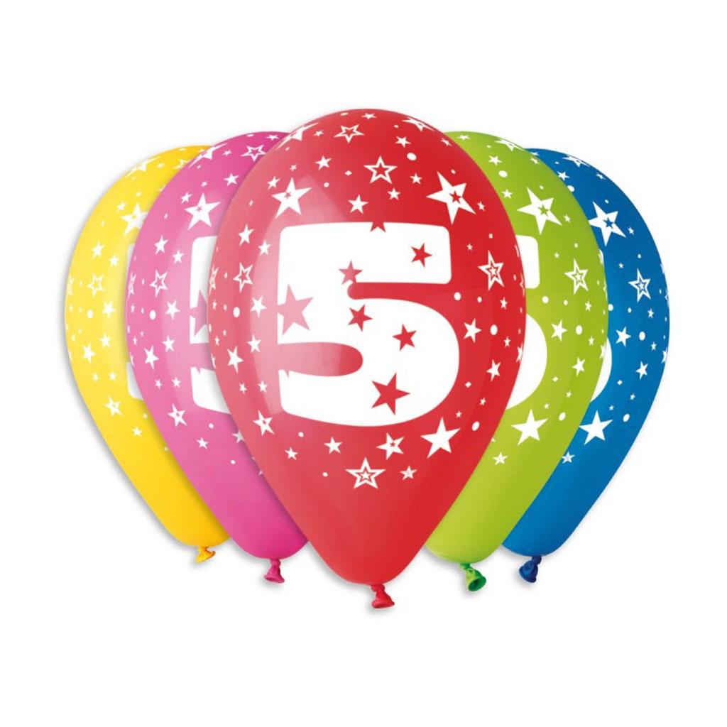 Balóny latexové č.5 s hviezdami, mix farieb, 5 ks