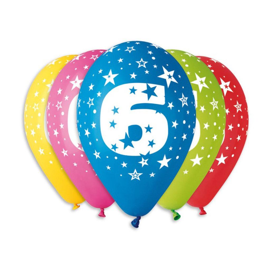 Balóny latexové č.6 s hviezdami, mix farieb, 5 ks