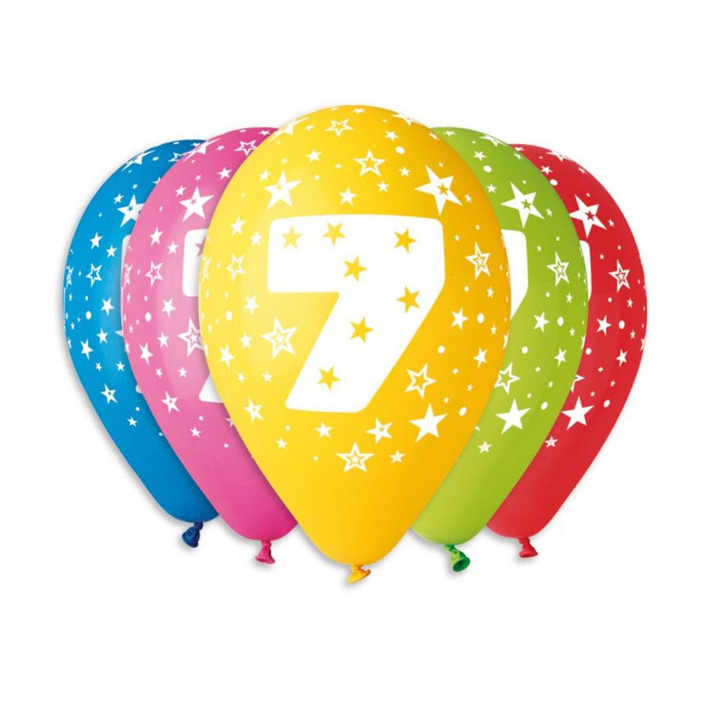 Balóny latexové č.7 s hviezdami, mix farieb, 5 ks