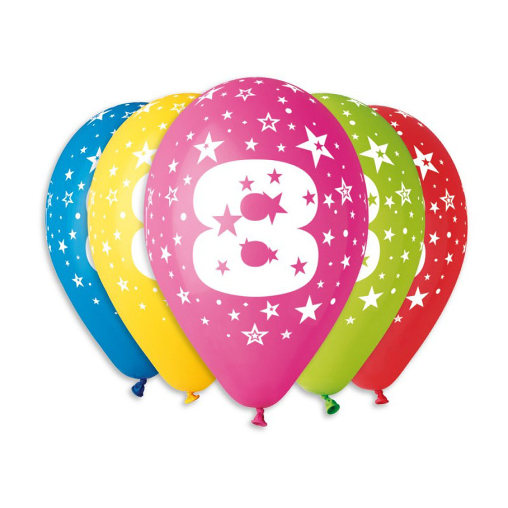 Balóny latexové č.8 s hviezdami, mix farieb, 5 ks
