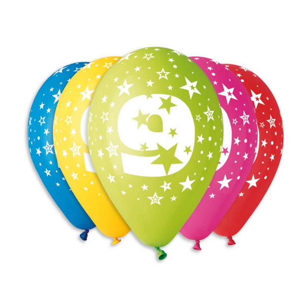 Balóny latexové č.9 s hviezdami, mix farieb, 5 ks