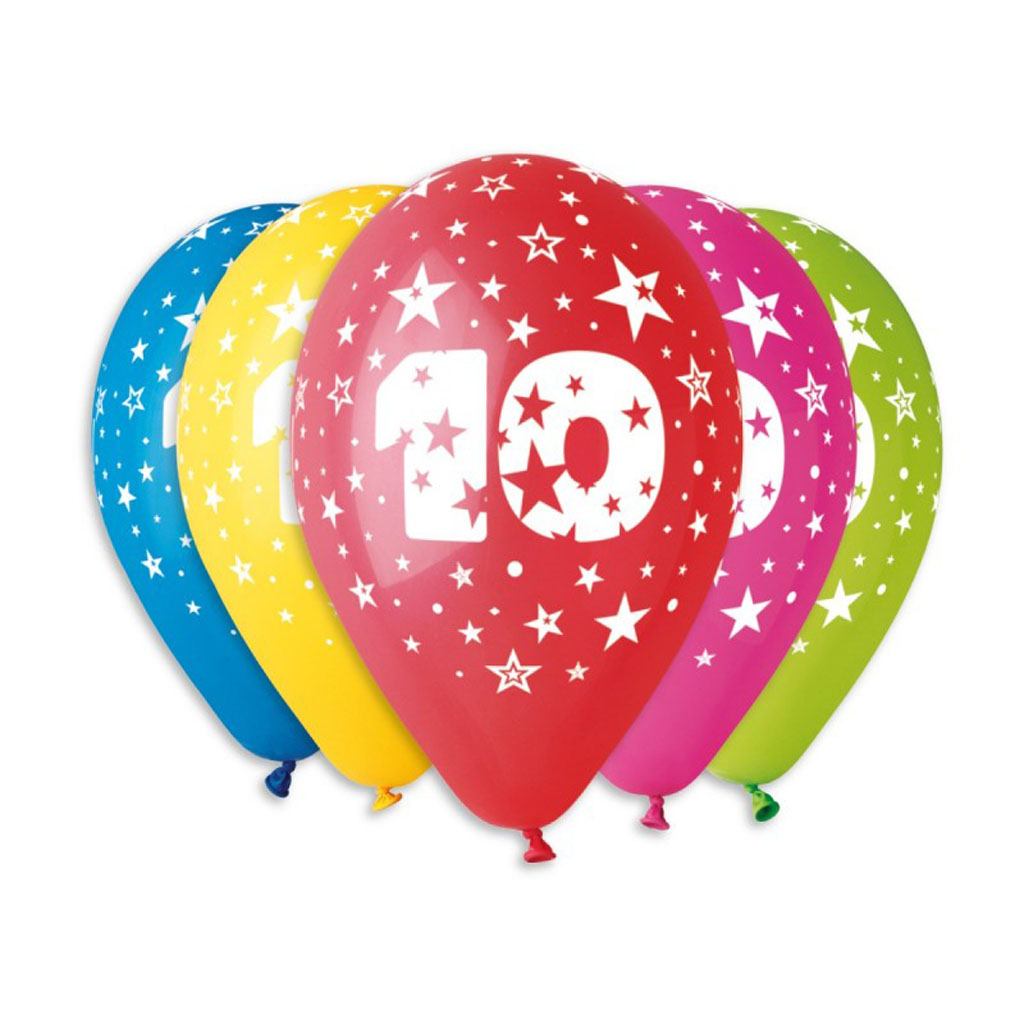 Balóny latexové č.10 s hviezdami, mix farieb, 5 ks