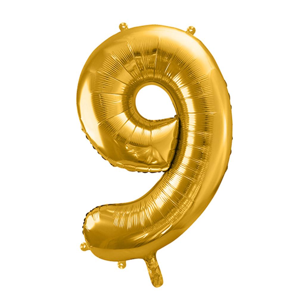 Balón fóliový č.9, zlatý