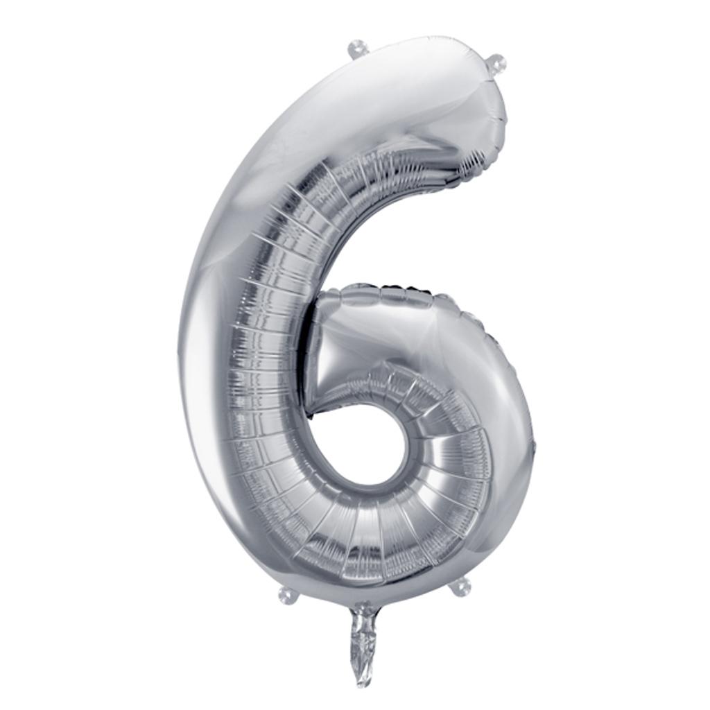 Balón fóliový č.6, strieborný