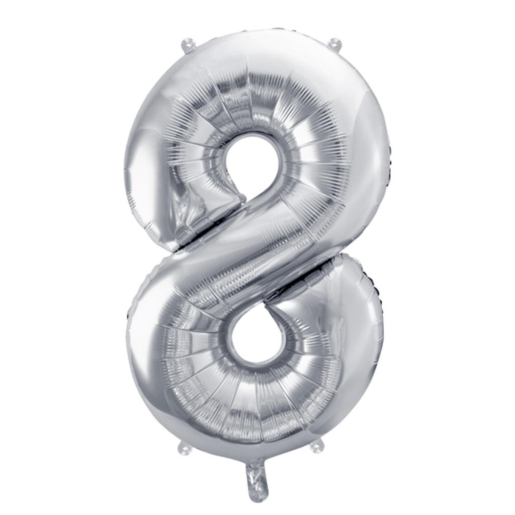 Balón fóliový č.8, strieborný