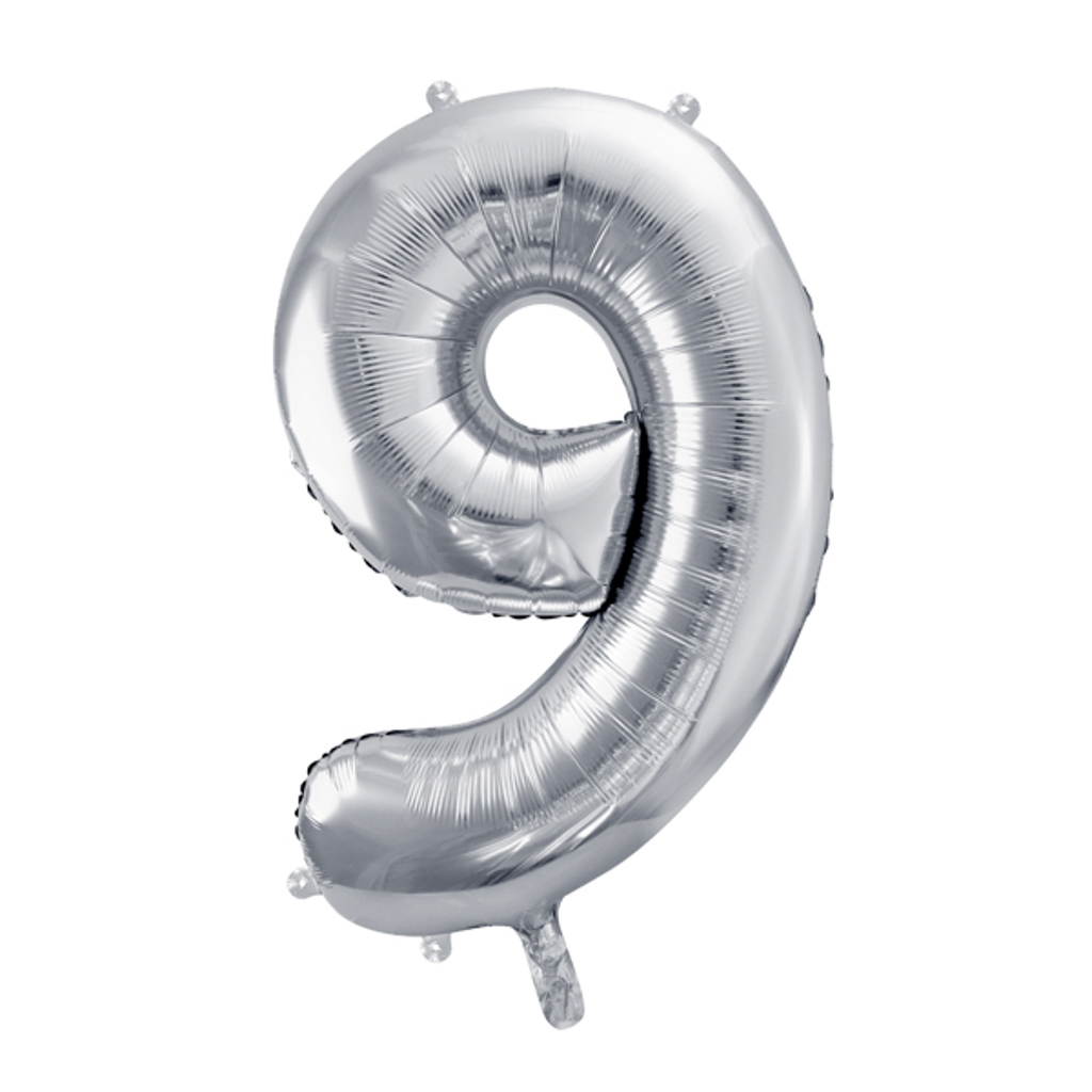 Balón fóliový č.9, strieborný