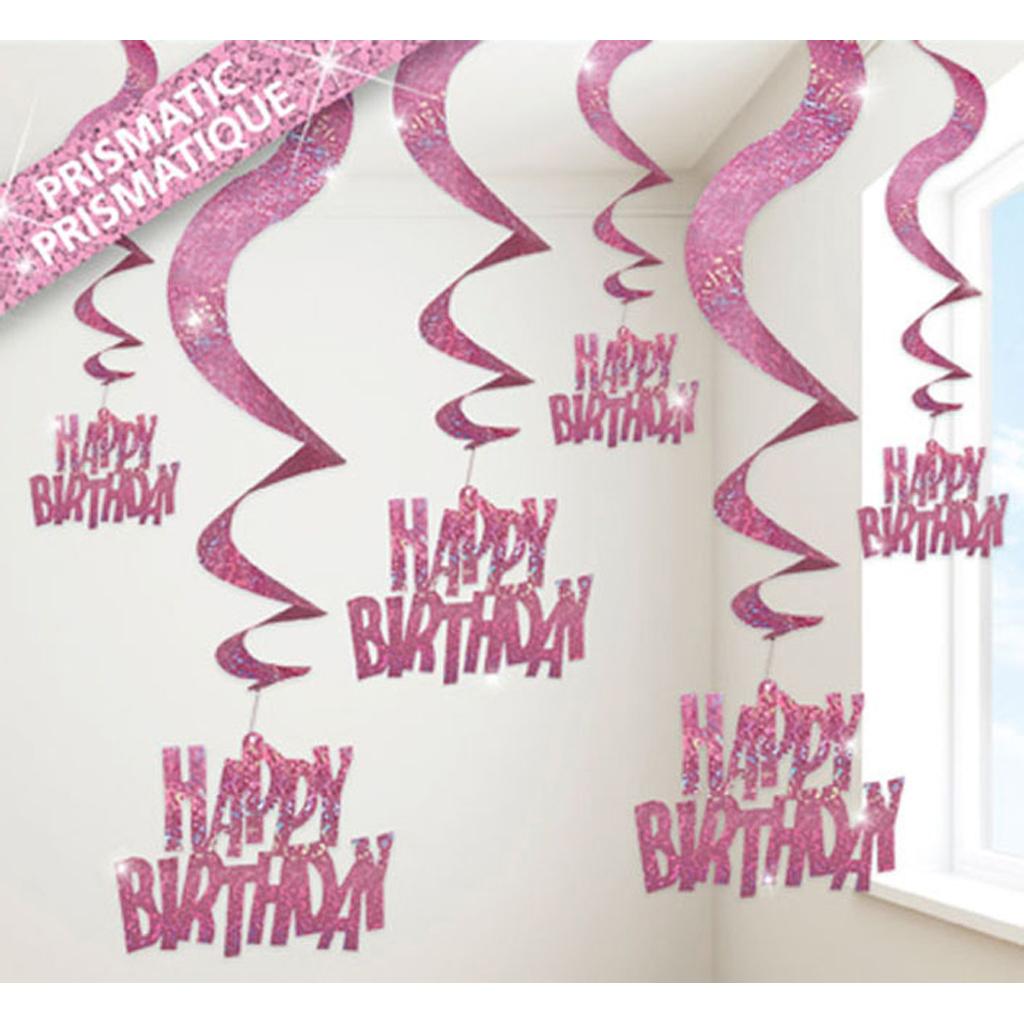 """Špirály ružové Glitz """"Happy Birthday"""", visiace, 6 ks"""
