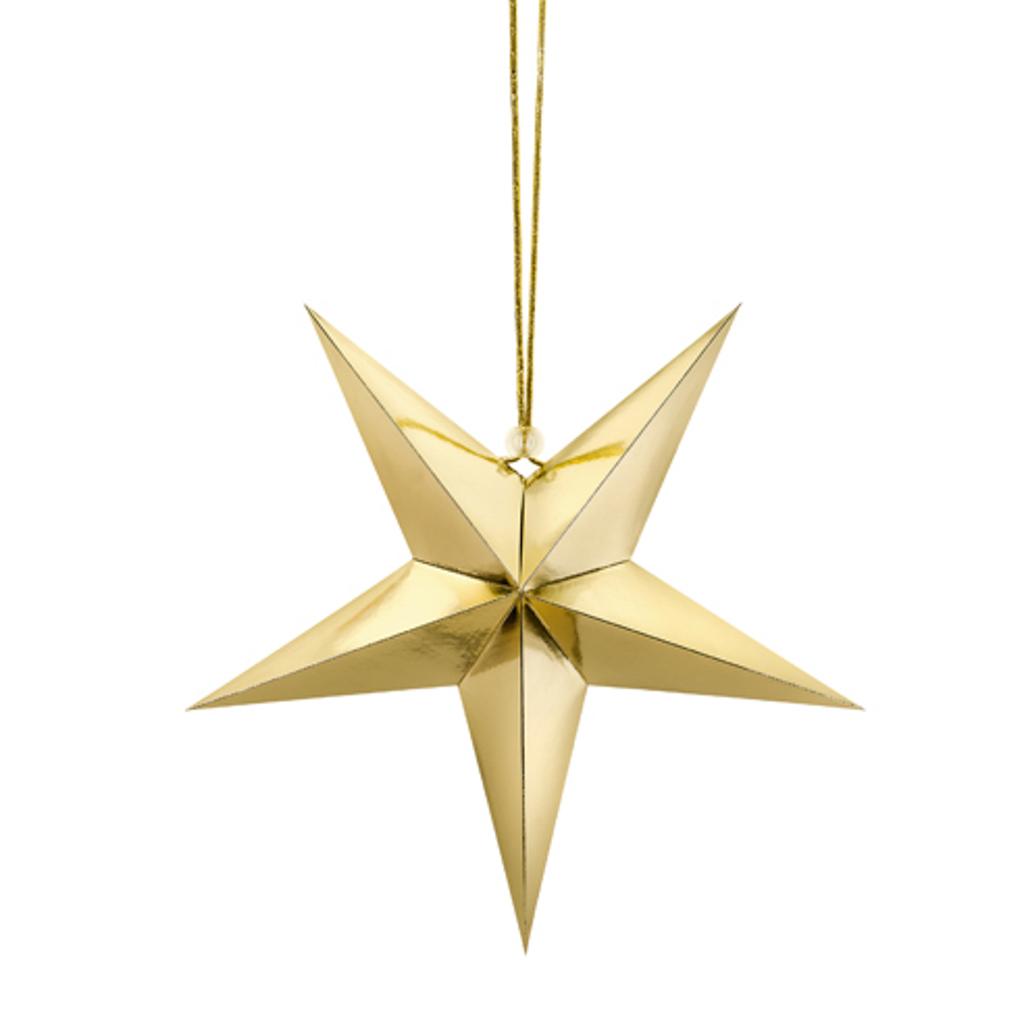 """Visiaca dekorácia """"Hviezda""""  zlatá 30 cm"""