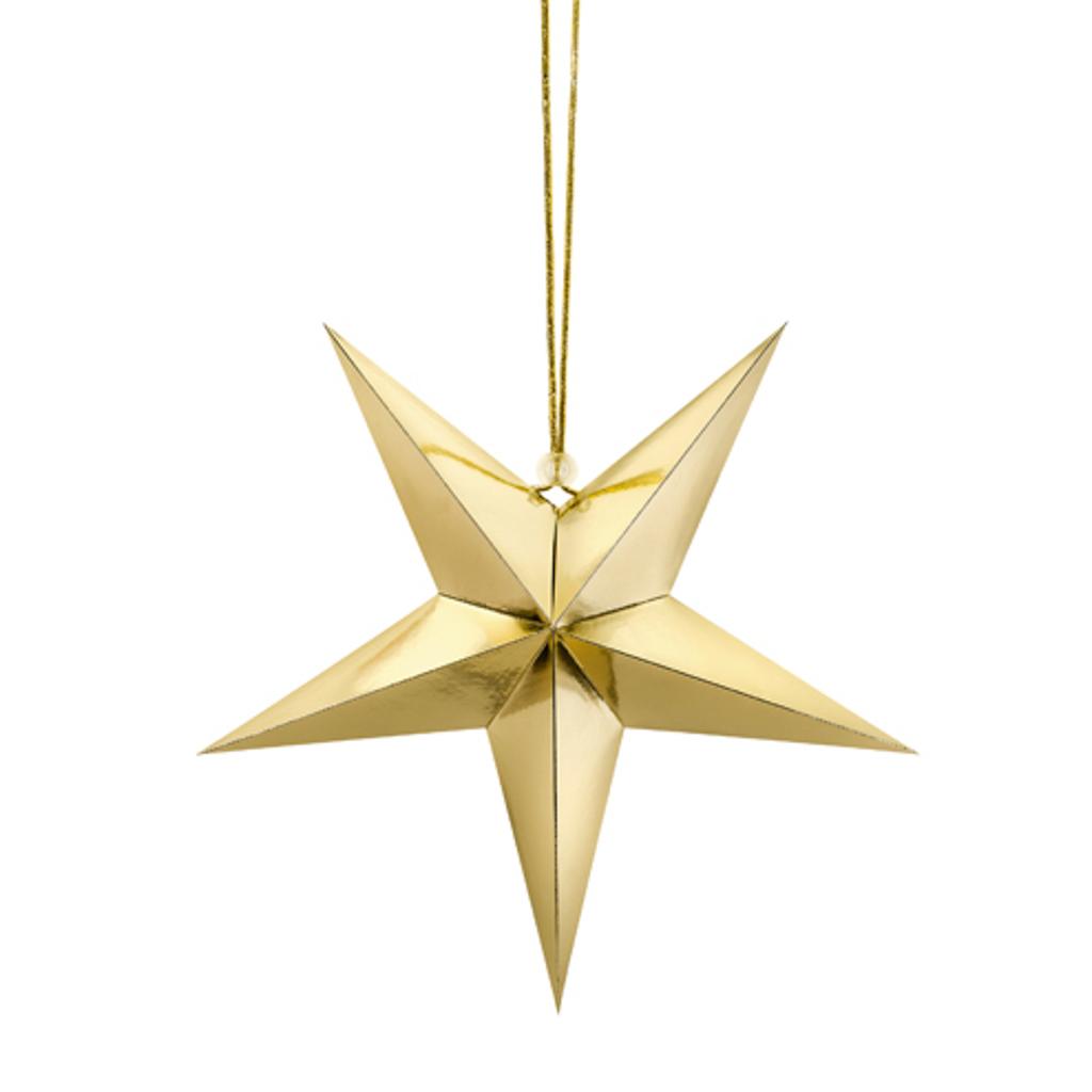 """Visiaca dekorácia """"Hviezda""""  zlatá 45 cm"""