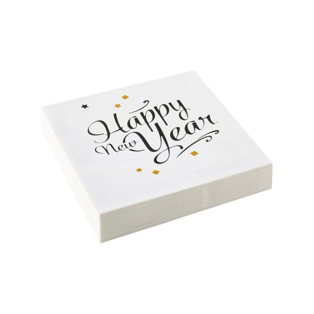 """Servítky """"Happy New Year Gold"""", 20 ks"""