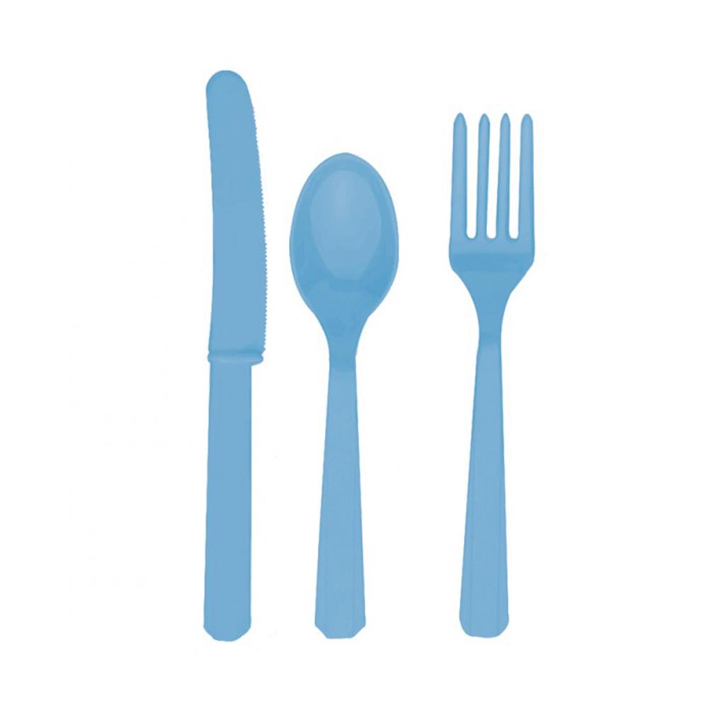 """Plastový príbor """"modrý"""", 18ks"""