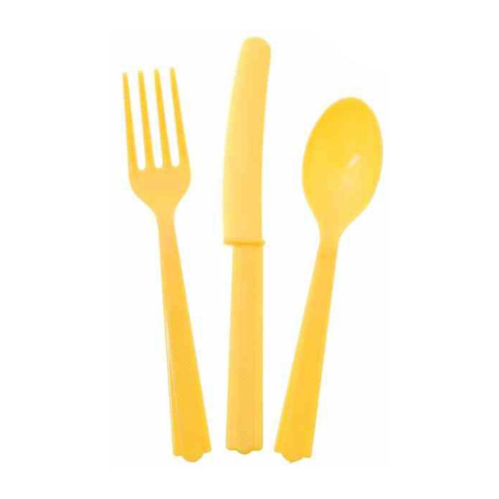"""Plastový príbor """"žltý"""", 18ks"""